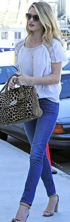 Shoes – Chloe    Purse – Mulberry    Sunglasses – Elizabeth and James  same bag in different colorsWho made Rosie Huntington-Whiteley's animal print handbag, braided sandals, and sunglasses?