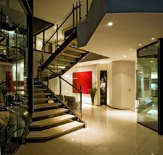 Architecture, Modern Contemporary Staircase Design With Glass Railings And White Ceramic Floor Tiles Ideas: Sleek and Stylish Cal Kempton Pa...