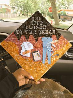One step closer Funny Graduation Caps, Custom Graduation Caps, Graduation Cap Toppers, Graduation Cap Designs, Graduation Cap Decoration, Nursing Graduation, Graduation Diy, College Graduation Pictures, High School Graduation