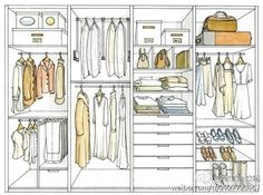 Wardrobe organize sketches and ideas.