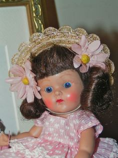 VOGUE STRUNG GINNY 1952 Glad #42 Beautiful Brunette  Dressed Doll Crisp L@@K  #hardplasticstrungVogueGinnydollSLEEPEYE