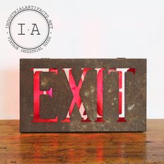 Vintage Industrial Sheet Steel Two Sided Theater Exit Sign Wall Mount Light Sconce Lamp