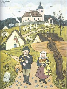 Josef Lada A Spring scene. Spring Scene, Naive Art, Illustrations And Posters, Illustrators, Folk Art, Cool Pictures, How To Draw Hands, Illustration Art, Clip Art