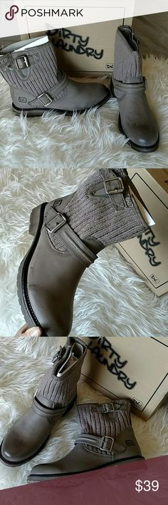 Grey knit booties Brand new in box never worn Dirty Laundry Shoes Ankle Boots & Booties