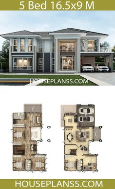 House Plans Idea with 5 bedrooms – House Plans Sam House Plans Idea with 5 bedrooms – House Plans Sam Pin: 768 x 1267 5 Bedroom House Plans, 3d House Plans, Model House Plan, House Layout Plans, House Blueprints, Dream House Plans, House Layouts, Bungalow House Design, Modern House Design