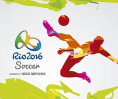 Colorful Soccer Olympics Rio 2016 design. Silhouette kicking a ball in red, orange and pink tones over a white background. Includes Rio 2016 official