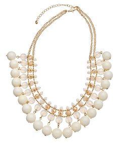 Blu Bijoux Gold and Cream Beaded Statement Necklace #maxandchloe