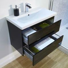 Clever black gloss wall mounted vanity unit