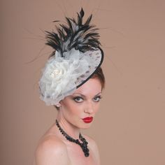 7249WYSY Whimsy, Ivory with black – Louise Green Millinery