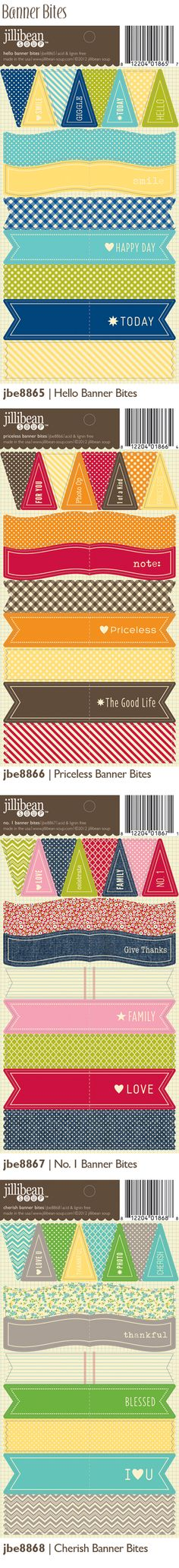 Jillibean Soup! Banner Bites!  How cute are these!  Love the colors! BannerBites_Summer2012_BlogPreview