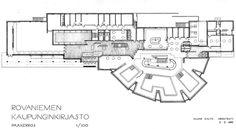 """Aalvar Aalto, Rovaniemi Library, 1965. Wcięcia w """"wachlarzu"""" - więcej oświetlenia, wnętrza otwarte na operowanie światłem, proste klarowne i jednoznaczne wnętrza, światło+materiał=ważne dla autora"""