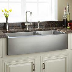 "36"" Optimum 60/40 Offset Double-Bowl Stainless Steel Farmhouse Sink - Curved Front - Farmhouse Sinks - Kitchen Sinks - Kitchen"