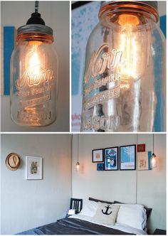 DIY Mason Jar Hanging Lamp