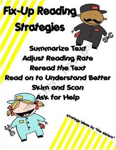 Daily 5 Fix-Up Reading Strategies Poster