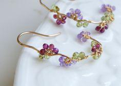 Multi Gemstones Flower Vine Hoop Earrings Gold Filled Wire Swirl- Etsy seller YukoDesigns