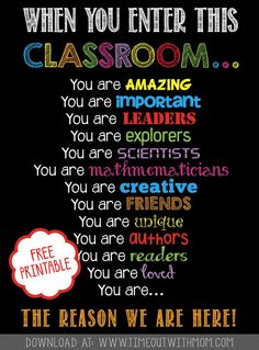 FREE PRINTABLE - Welcome Back to School, Classroom Printable for Teachers! Also makes a great gift.  - Timeout with Mom: Welcome Back to School Classroom Printable - www.timeoutwithmom.com                                                                                                                                                                                 More