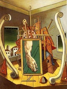 Giorgio de Chirico Interno metafisico con mano di David 1968