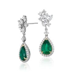 Pear Shape Emerald and Diamond Halo Drop Earrings 18k White and Yellow Gold (3.40 ct. tw. center), Gold Diamond Emerald