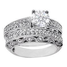 Round Diamond Filigree Heirloom Engagement Ring and Matching Wedding Band Bridal Set 0.54 tcw.