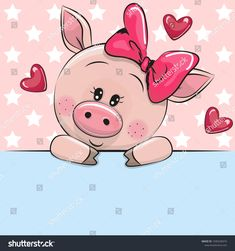 Greeting card cute Cartoon Pig is holding a placard on a stars background love cartoon Stockfoto- und Stockbild-Portfolio von