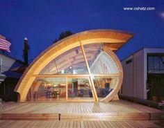 Floating wooden house in Portland - Vivienda de diseño original identificada por sus lineas y superficies curvas