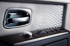 Rolls-Royce Phantom Limelight Collection 2015, Door Card Embroidery & Function Controls Detail. More Images On The Following Link: https://www.carspecwall.com/rolls-royce/bespoke-collection-cars/phantom-limelight-collection-2015/