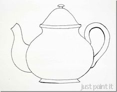 Teapot & cups pattern templates for painting embroidery coloring pages and more.