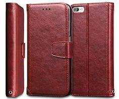 iPhone 7 Case, ArtMine Premium PU Leather Lightweight [Credit/ID Card Slots] Flip Stand Wallet Case with Wristlet for Apple iPhone 7 (Brown) - Brought to you by Avarsha.com