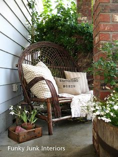 .love the old barrel and the little wood love seat
