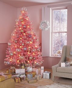 Pink Christmas tree and metallic pastels!