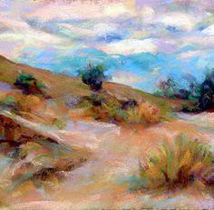 GOLDEN COVE - 4 x 4 landscape pastel by Susan Roden, painting by artist… Watercolor Clouds, Watercolour, Mountain Art, Art Boards, Fine Art, Wallpaper, Pictures, Photos, Artist