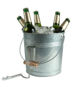 Artland Oasis Galvanized Tin Beverage Pail with Bottle Opener