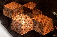 Another copper penny floor variation--I love the use of shading! Penny Tile Floor with 3D Cube Illusion Created from Tarnishing Levels