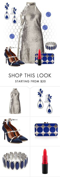 """Untitled #4387"" by empathetic ❤ liked on Polyvore featuring Miss Selfridge, Effy Jewelry, Malone Souliers, Manolo Blahnik, New Directions and MAC Cosmetics"
