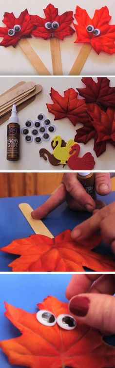 Leaf Puppets | 25 Easy Thanksgiving Crafts for Kids to Make that you will want to make too!