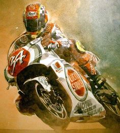 Flat Track Motorcycle, Motorcycle Posters, Suzuki Motorcycle, Motorcycle Art, Valentino Rossi, Gp Moto, Motorbike Parts, Cafe Art, Automotive Art