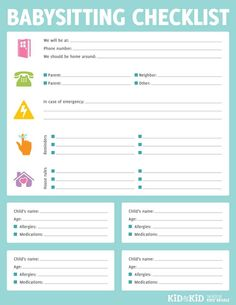 Babysitter Checklist. Might been good to laminate and use a dry ...