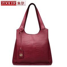 ZOOLER Women Genuine Leather Handbags Large Shoulder Bag Cowhide Ladies Tote Bags Black Handbags Casual Shopping Bag bolsas SAC
