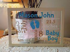Male Baby Annoucnement Vinyl Lettering Framed. $20.00, via Etsy.
