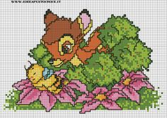 SCHEMA BAMBI PUNTO CROCE Cross Stitch Baby, Cross Stitch Charts, Cross Stitch Patterns, Bambi Disney, Walt Disney, Cartoon Movie Characters, Minnie Baby, C2c Crochet, Beading Patterns