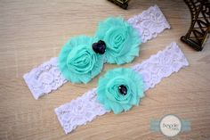 Wedding Custom Garter with Baby Blue Flowers, Purple Rhinestones and White Lace by BespokeGarters by BespokeGarters on Etsy
