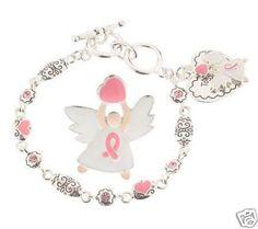 Pink Ribbon Angel 18K White Gold Plated Pin & Bracelet
