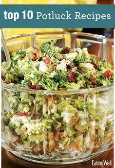 EatingWell's Top 10 Potluck Recipes including Broccoli-Bacon Salad, Tex-Mex Summer Squash Casserole, Cheddar Cornmeal Biscuits with Chives, Garden Pasta Sala and more.