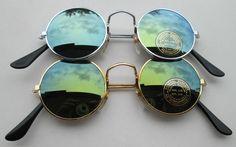 2er Set Sonnenbrillen 70er Jahre Stil Spiegel 70 er Hippie Goa Brille rund 70s 3