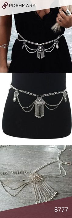 SILVER TONED BELLY CHAIN  *coachella* Boutique item  Price is firm   Grab this BOHO SILVER toned belly/bikini chain for your spring/summer wardrobe! Multi layered chains and charm details. Pair over your bikini or with shorts and a crop top or over a dress!   Also available in GOLD Pics 2-4 actual item  *Coachella, summer, spring, vacation, beach, swimsuit, swimwear, party, vegas, chain, chains, belly chain, body chains, poolside, pool party, multi layer, Dainty gold belt charms layers…
