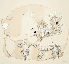 'a chat with a cat' Art Print by tofuvi Manga Art, Manga Anime, Anime Art, Art And Illustration, Pretty Art, Cute Art, Kero Sakura, Character Art, Character Design