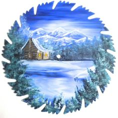 painted saw blades | Hand Painted Saw Blade Mountain Winter Log Cabin Sale ...