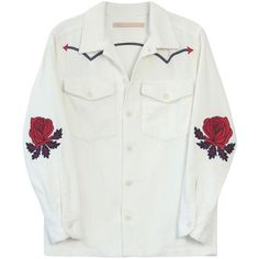 Bliss and Mischief Rose Embroidered Corduroy Rodeo Jacket ($498) ❤ liked on Polyvore featuring outerwear, jackets, kirna zabete, kz's most wanted, kzloves /, embroidered jacket, collar jacket, cordoroy jacket, red corduroy jacket and cowboys jacket
