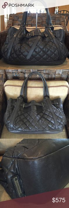 "🌿Burberry Lambskin Quilted Leather 🌿Olive Hobo AUTHENTIC BURBERRY HOBO BAG Softly gathered quilted lambskin,brass-tone hardware, &stylish belted accent.Handles long enough to be worn on the arm or shoulder. 15 bottom-17.5""widest L x12 H"" X 5""D bottom,approx.7""D deepest  Color:Dark Olive Lambskin leather,1"" Wide Handles:10""drop   Interior:1 side zipper pocket;1 center divider  zipper compartment w/3 interior slip pockets.Gently preowned w/light signs of use; mild rubs near bottom.No…"