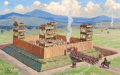 Royal Army Fort dry moat bridge Guard Towers gate farmland steppe hills Road w Roman fort Roman Architecture, Ancient Architecture, Ancient Rome, Ancient History, Imperial Legion, Obelix, Rome Antique, Roman Legion, Roman Soldiers